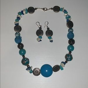 Jewelry - Blue beaded necklace and earrings